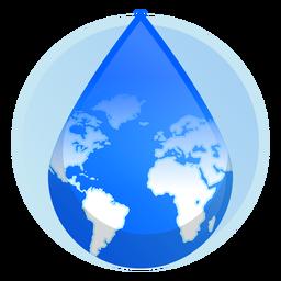 Icono de gota de agua de la tierra
