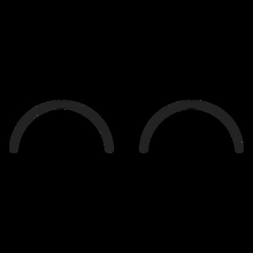 Emoticon curvo de ojos cerrados. Transparent PNG