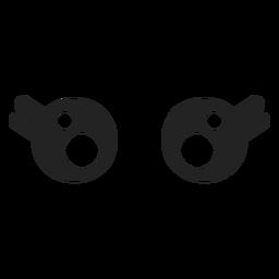 Olhos de emoticon feminino kawaii