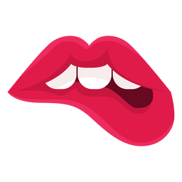 Female lips biting icon