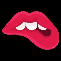 Lábios femininos, morder, ícone