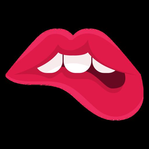 Lábios femininos, morder, ícone Transparent PNG