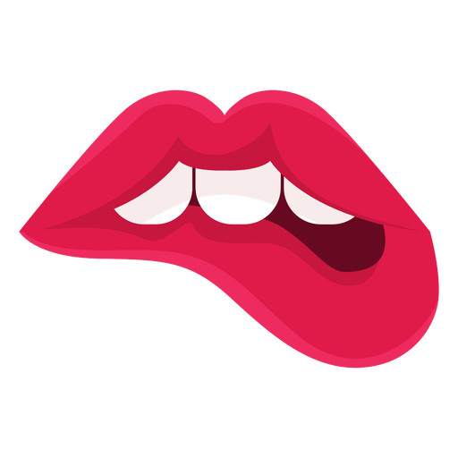 Labios femeninos mordiendo el icono Transparent PNG