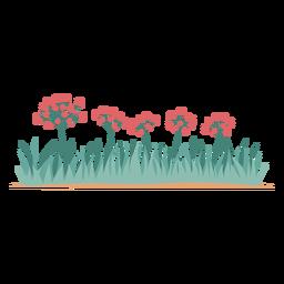 Flores e elemento de grama