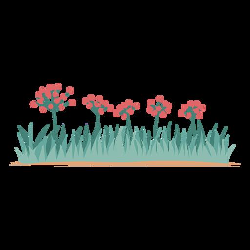 Elemento flores y césped. Transparent PNG