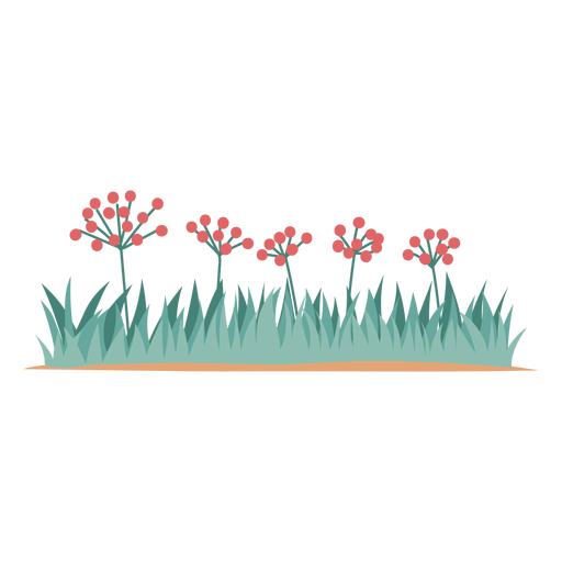 Flowers and grass element Transparent PNG