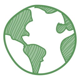 Green earth hand drawn icon