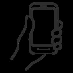 Hand, die Smartphoneikone hält