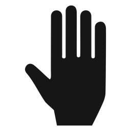 Mão, palma, silueta, ícone