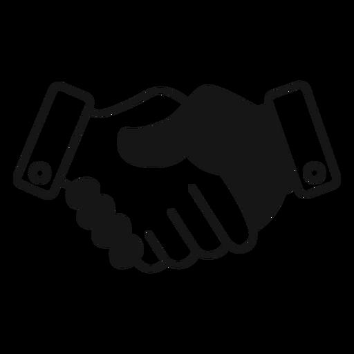 Icono de apretón de manos blanco y negro