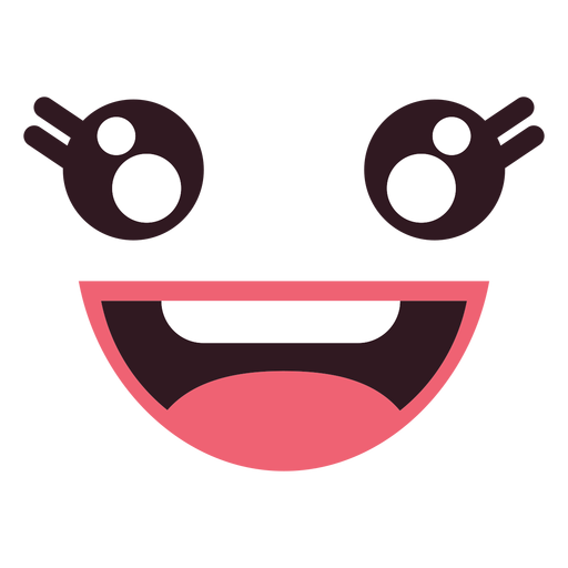Kawaii happy female emoticon face Transparent PNG