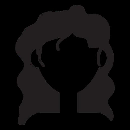 Silhueta de longos cabelos ondulados Transparent PNG
