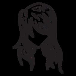 Loose woman hair hand drawn