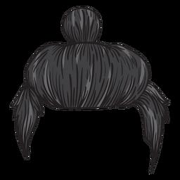 Homem, coque, cabelo, ilustração