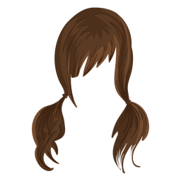 Pigtails hair illustration