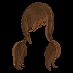 Pigtails hair illustration