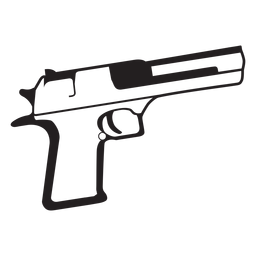 Pistol black and white icon