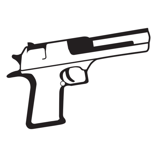 Pistol black and white icon Transparent PNG
