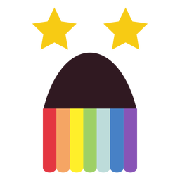 Pussy arco iris emoticon cara plana