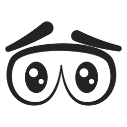 Desenhos animados de olhos emoticon triste