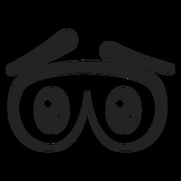 Dibujos animados de ojos de emoticon triste