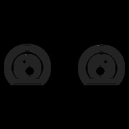 Olhos de emoticon kawaii tristes