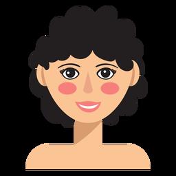 Avatar de mulher de cabelo curto e encaracolado