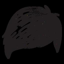 Seitenfransenmann-Haarhand gezeichnet