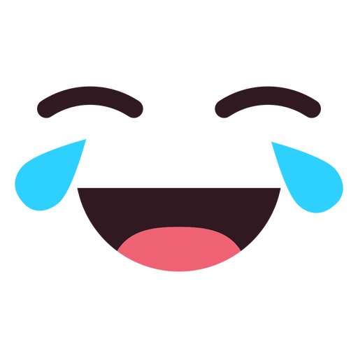 Simple crying laughing emoticon face Transparent PNG