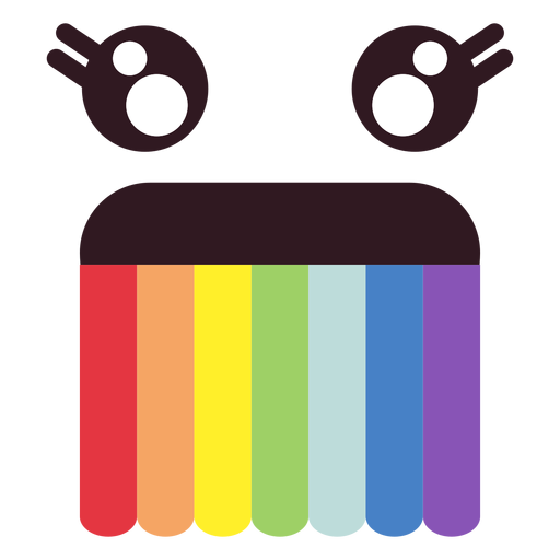 Rostro de emoticonos simples de arcoiris. Transparent PNG