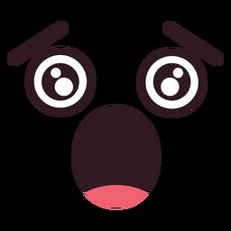 Cara de simple caricatura asustada.