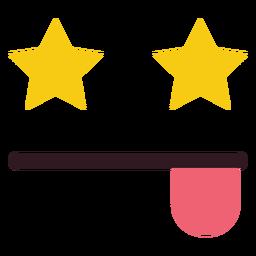 Ojos de estrella emoticon cara plana