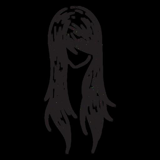 Mão de cabelo de mulher em linha reta desenhada Transparent PNG