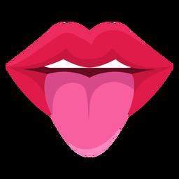 Língua para fora do ícone da boca feminina