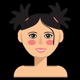 Avatar de mujer de pelo de coletas superior
