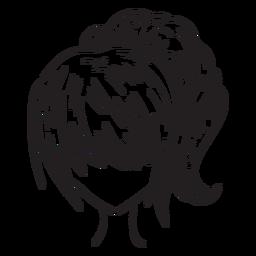 Mano de pelo de cola de caballo de mujer dibujada