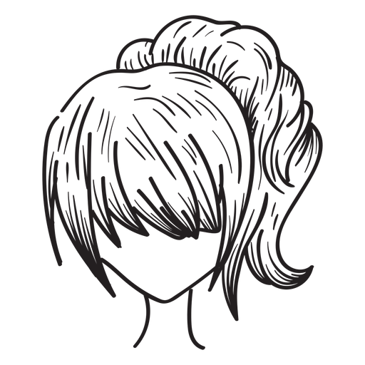 Mano de pelo de cola de caballo de mujer dibujada Transparent PNG