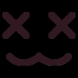 X eyes emoticon face flat