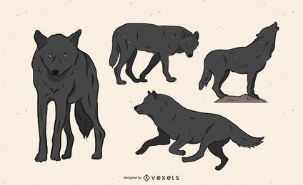 Ilustração de lobo em várias poses