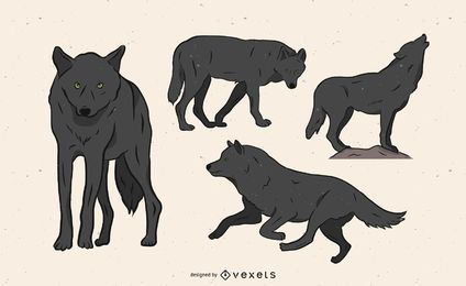 Wolf illustration in several poses