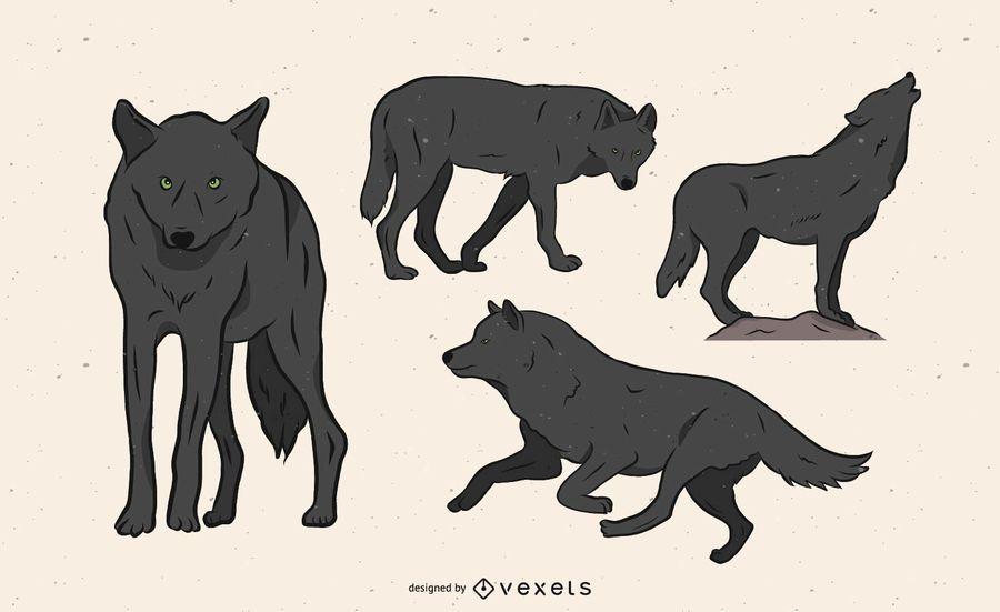 Ilustración de lobo en varias poses.