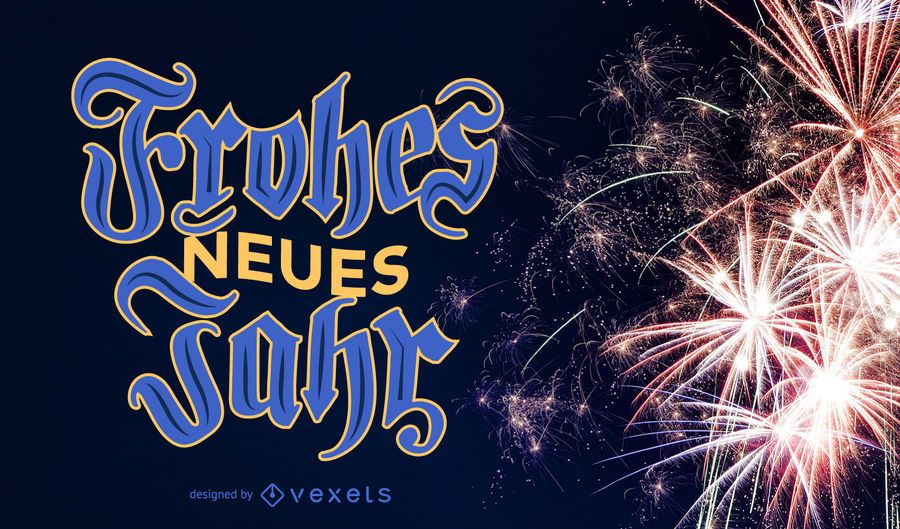 New Year Frohes Neues Jahr Lettering