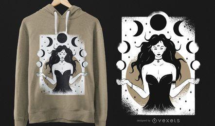 Diseño de camiseta de diosa lunar