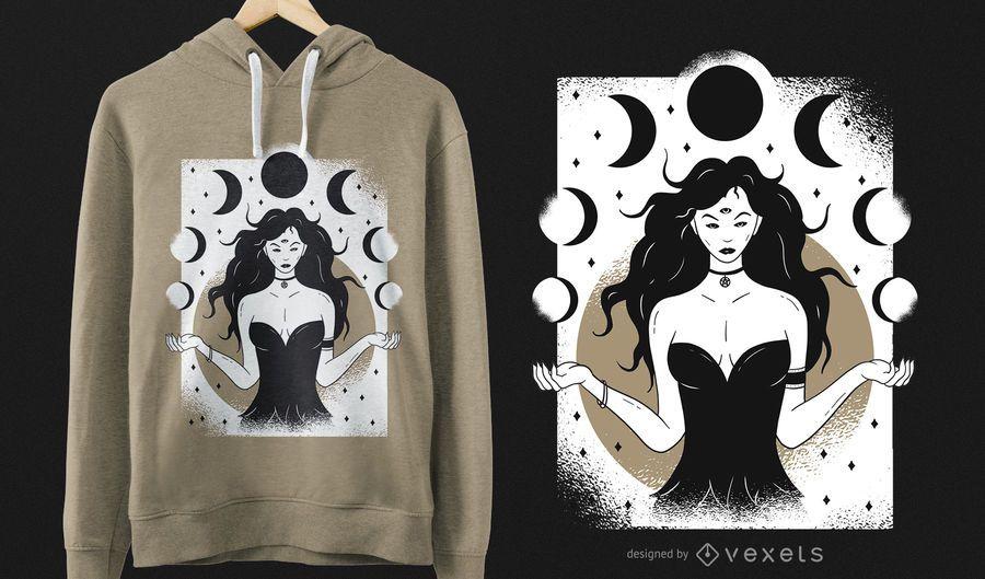 Diseño de camiseta diosa lunar