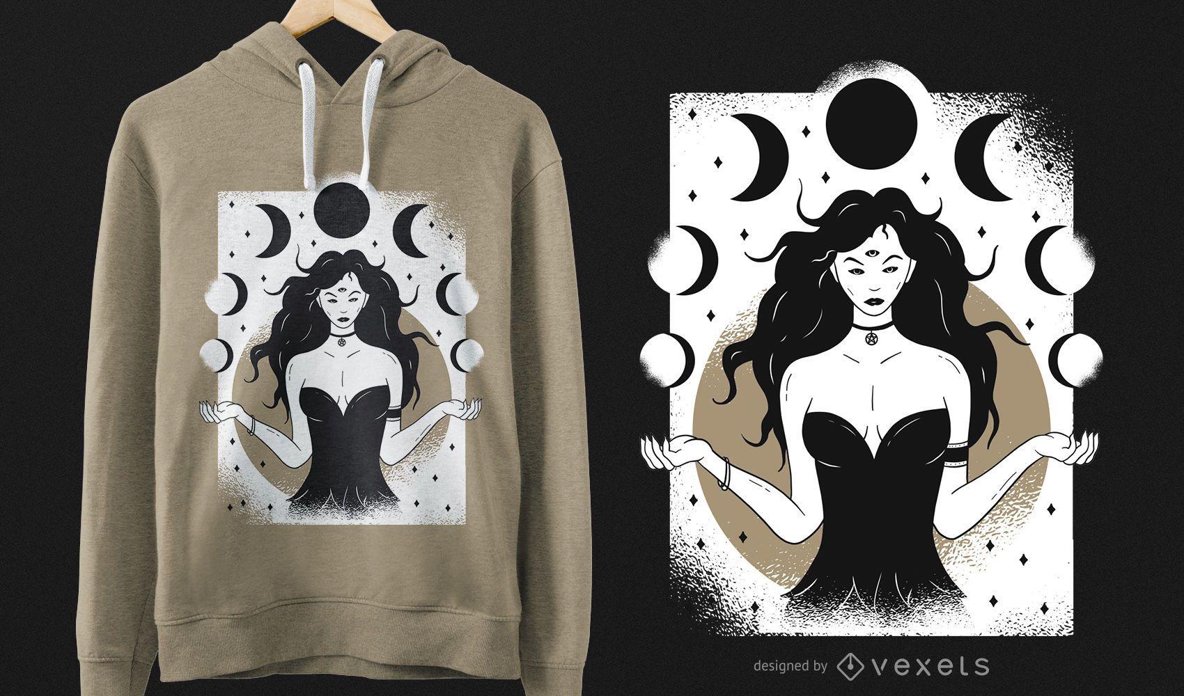 Design de T-shirt Lunar Goddess