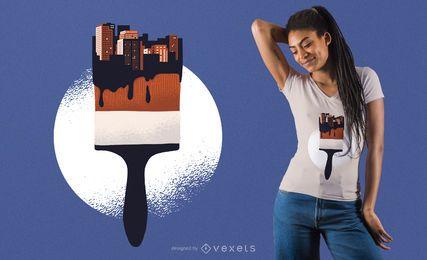 Design urbano do t-shirt da escova de pintura