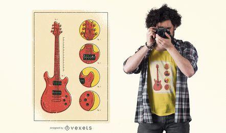 Diseño de camiseta de piezas de guitarra