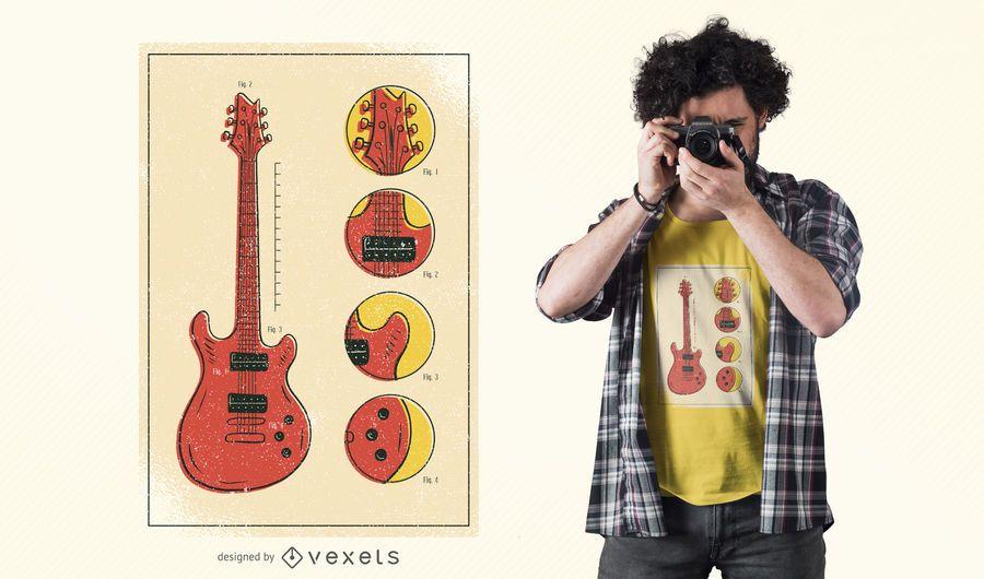Guitar Pieces T-Shirt Design