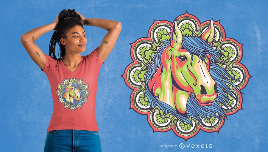 Colorful Mandala Horse T-Shirt Design
