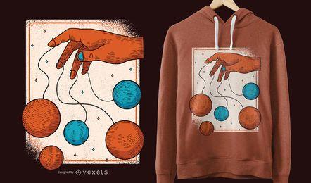 Projeto do t-shirt dos fantoches do planeta